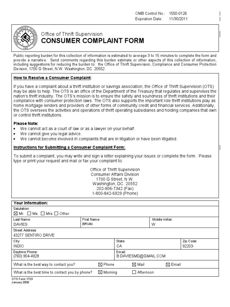 Consumer Complaint Form | Ots Comsumer Complaint Form Bank Regulators Office Of Thrift
