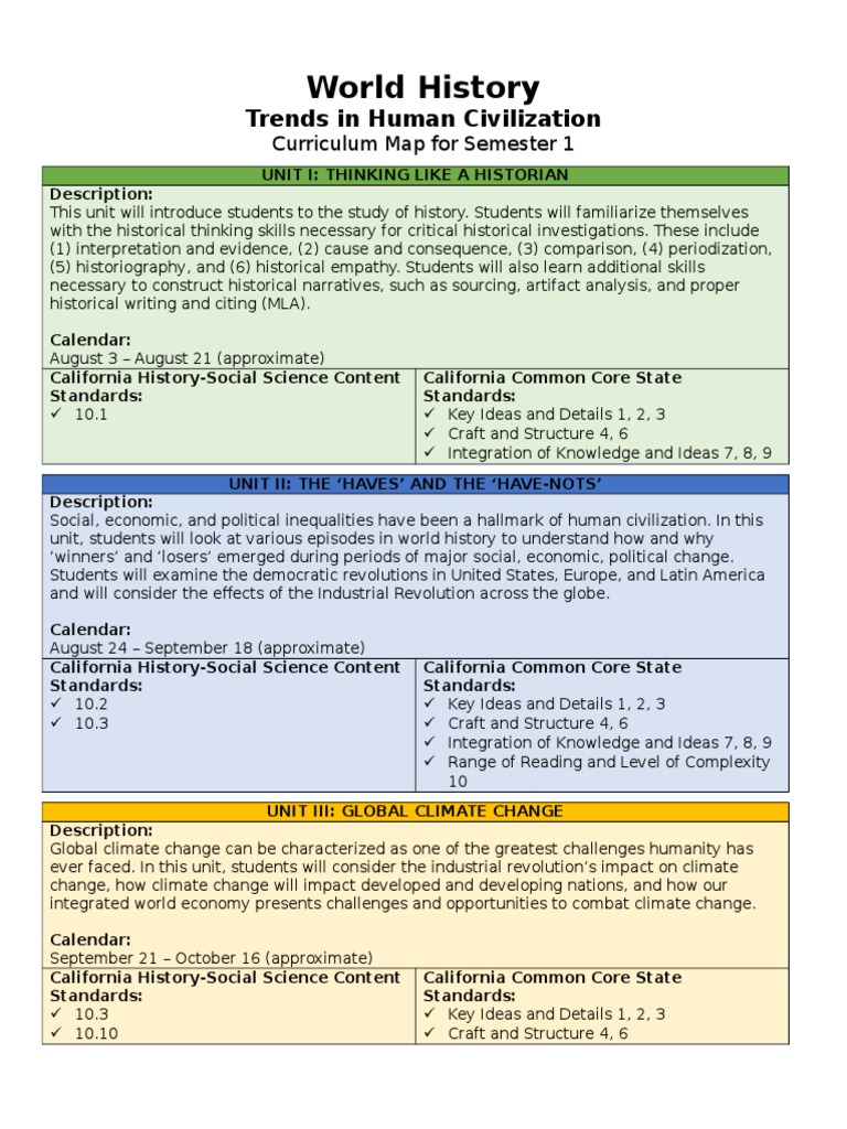 4 1 Curriculum Map World History Fall Common Core State Standards