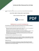 Clave de Producto de Microsoft Office Professional Plus 2010 Beta