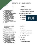 Equipos Participantes en II Campeonato