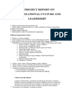 Mba Project Report on Organizational Culture