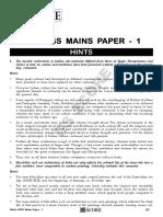 Hints - UPSC Paper 1
