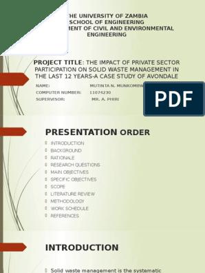 Project Presentation   Municipal Solid Waste   Human Impact