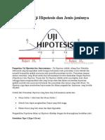Pengertian Uji Hipotesis Dan Jenis