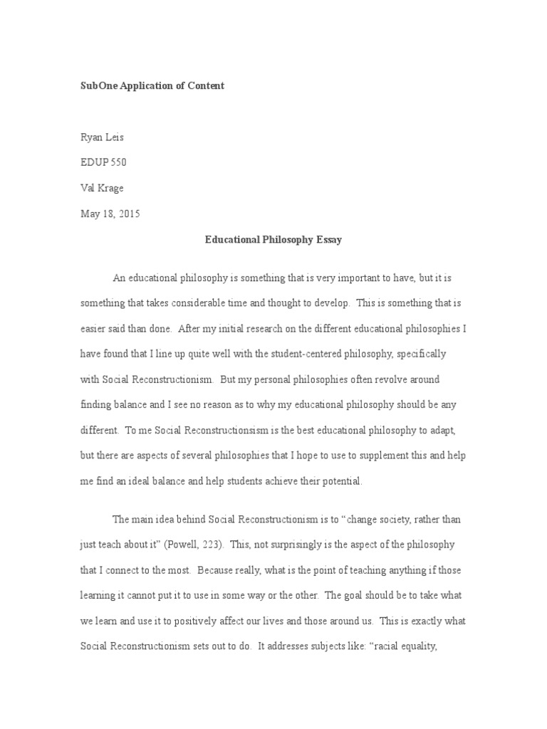 How To Write An Essay High School  Health Awareness Essay also From Thesis To Essay Writing Portfolio Educational Philosophy  Philosophy Of Education  Teaching Essays And Term Papers