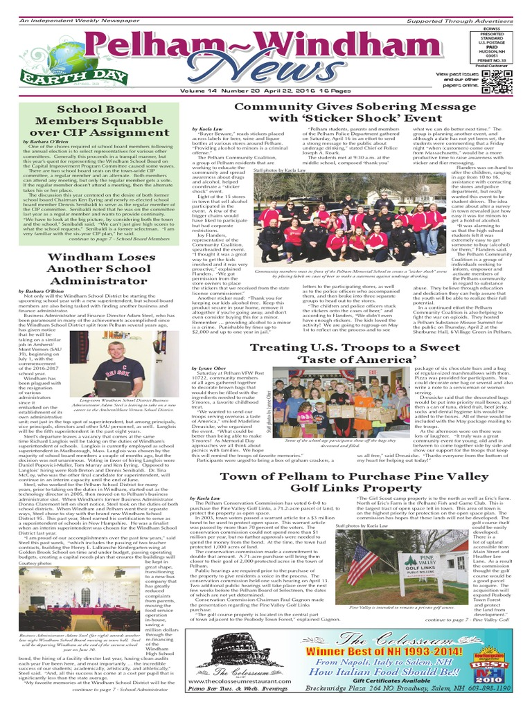 Pelham~Windham News 4-22-2016 | Schools | Further Education