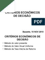Critérios Econômicos de Decisão 16 11 2015