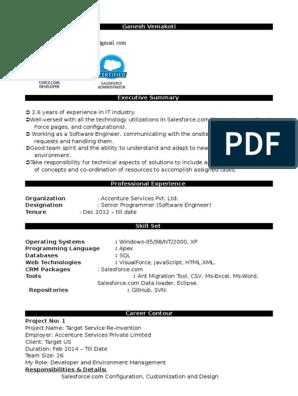 salesforce resume | Salesforce Com | Areas Of Computer Science