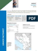 Fact Sheet UNHCR Kosovo* 2016 - April
