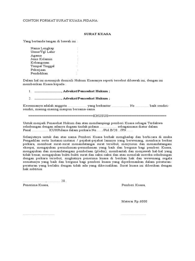 Contoh Format Surat Kuasa Pidana