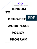 Sample  Drug Free Workplace Policy Program 02 July 2013