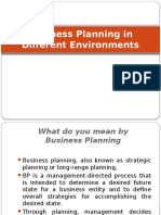 Business Planning in Different Environments