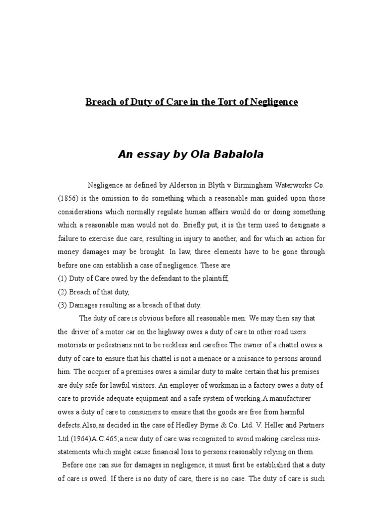 tort essay Start studying torts essay cheat sheet learn vocabulary, terms, and more with flashcards, games, and other study tools.