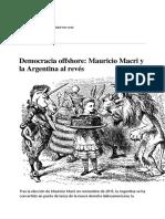 Observatorio Argentino, Democracia Offshore, Mauricio Macri y El Mundo Al Revés