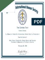 Golden Key Certificate