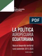 La Política Agropecuaria Ecuatoriana Al 2015 Version Resumida