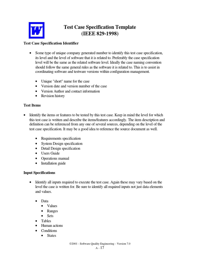 Qe Test Case Specification Template | Specification (Technical ...