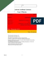 Edexcel GCSE Physics 2011 Topics P3.2 and P3.3 test 13_14 with mark scheme