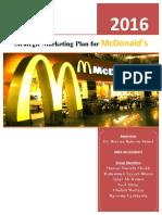Strategic Marketing Plan for McDonald's 2016