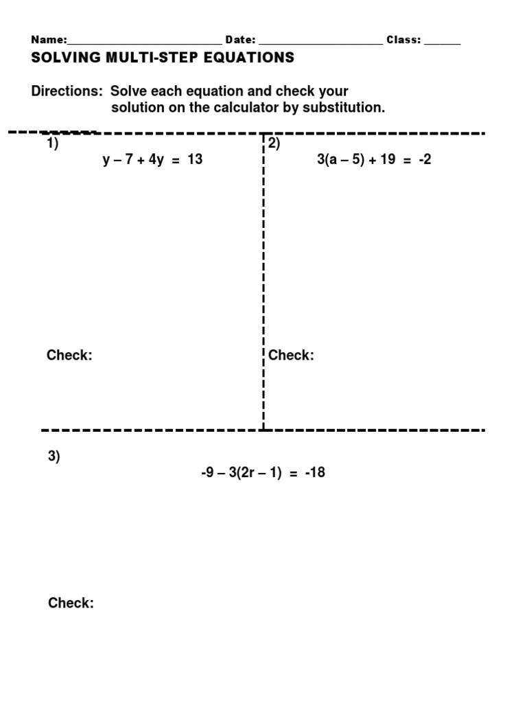 solving multi-step equations practice