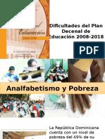 Dificultades Del Plan Decenal de Educación 2008-2018