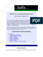 Elements of a Research Proposal and Report