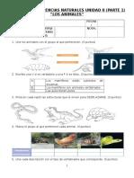 Evaluación Ciencias Naturales. Unidad 2 Los Animales
