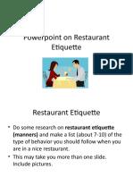 Power Point on Restaurant Etiquette