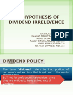Mm Hypothesis of Dividend Irrelavence
