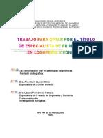 La Comunicacion Oral en Patologias Psiquiatricas Tesis