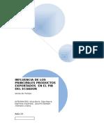 INFLUENCIA DE LOS PRINCIPALES PRODUCTOS EXPORTADOS  EN EL PIB DEL ECUADOR