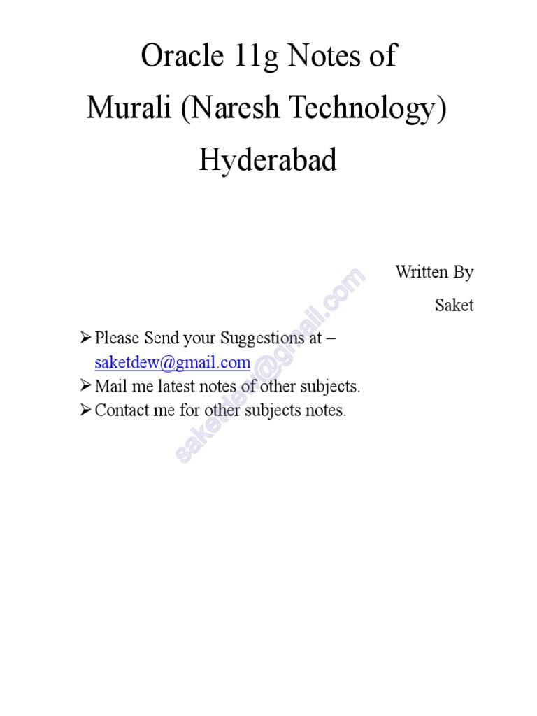 Oracle 11g Murali Naresh Technology Databases Sql