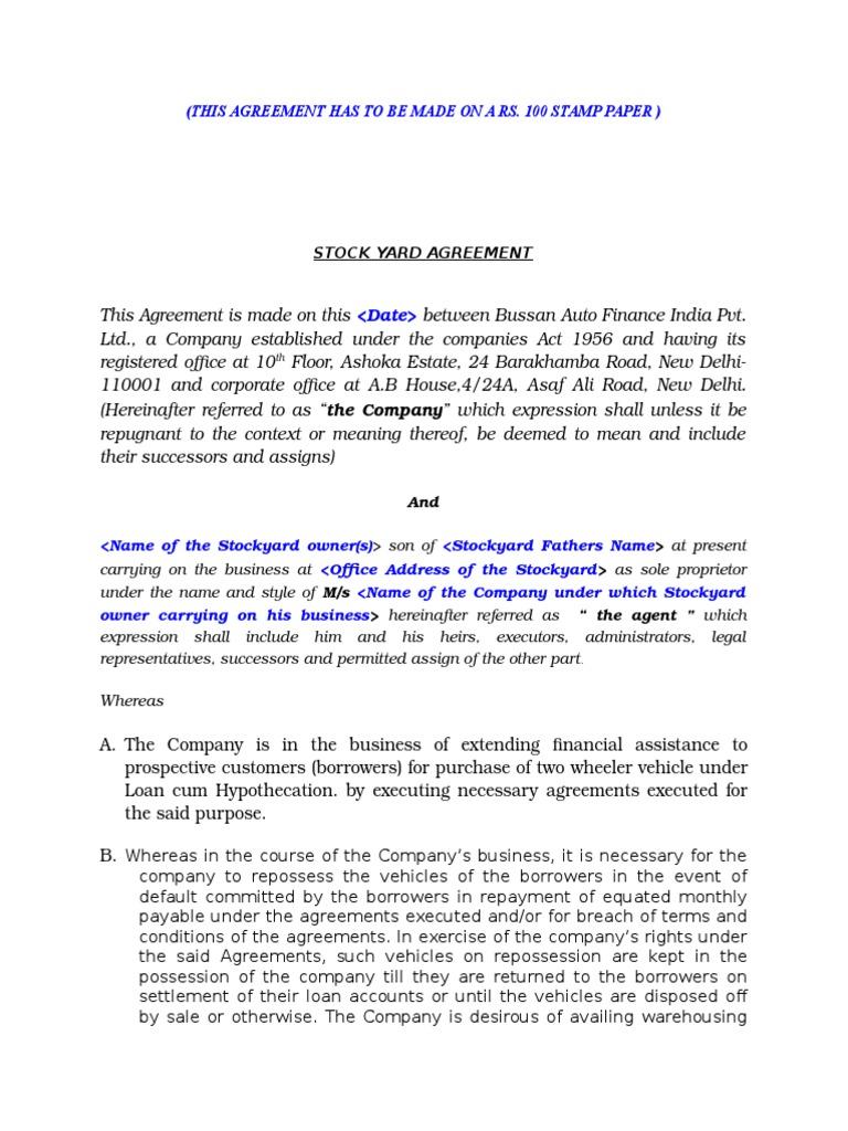 Agreement stockyard agreement indemnity breach of contract platinumwayz