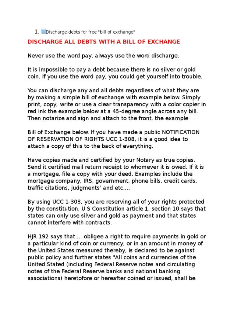 Discharge Debts for Free!!(Info Letter)   Legal Tender   Negotiable ...