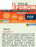 About GATE Entrance Exam 2016