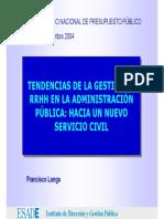 Tendencias de La Gestion de RRHH en La Admon Publica, Hacia Un Nuevo Servicio Civil