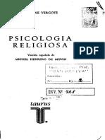 Vergote, Antoine. Psicología Religiosa (Cap. Preliminar)