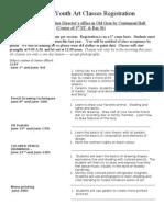 Summer Youth Art Classes Registration Form 2010.Schemmer