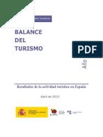 Balance Del Turismo en España. Año 2012