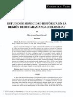 Estudio de Sismicidad Historica Bucaramanga