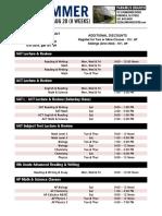 2016 Summer Schedule Paramus