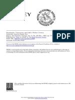 Author(s) Amartya Kumar Sen - Distribution, Transitivity and Little's Welfare Criteria