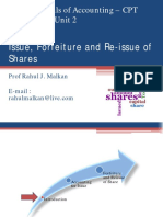 Introduction to Issue Forfeiture and Reissue of Shares