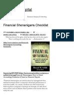 Financial Shenanigans Checklist – Hurricane Capital