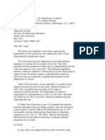US Department of Justice Civil Rights Division - Letter - tal050