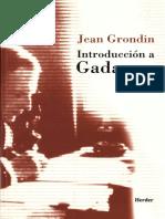 Grondin Introduccion a Gadamer