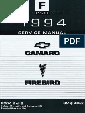 1994 Chevrolet Camaro Pontiac Firebird Service Manual Volume 2 Fuel Injection Brake