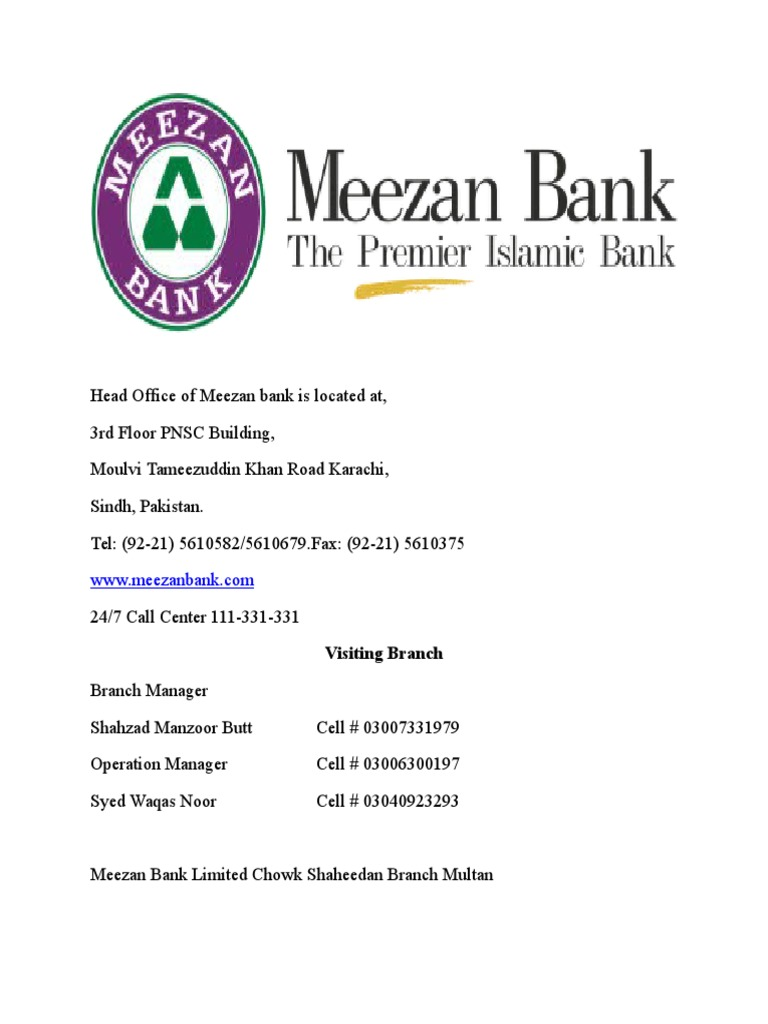 Products and Documentation of Meezan Bank ltd | Islamic Banking And