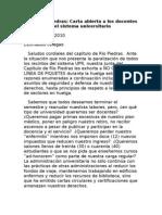 Carta Abierta a Los Docentes Del Sistema de La UPR