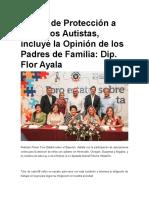 La Ley de Protección a los Niños Autistas, incluye la Opinión de los Padres de Familia